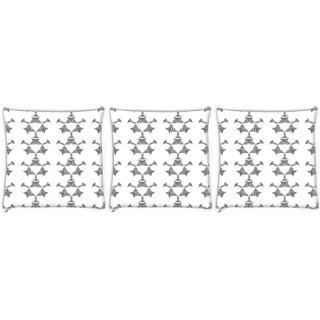 Snoogg Pack Of 3 White Triangle Digitally Printed Cushion Cover Pillow 12 x 12 Inch