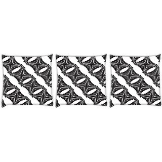 Snoogg Pack Of 3 Cross Pattern Digitally Printed Cushion Cover Pillow 12 x 12 Inch