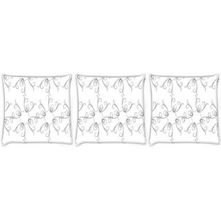 Snoogg Pack Of 3 Pencil Sketch Digitally Printed Cushion Cover Pillow 12 x 12 Inch