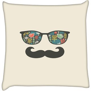 Snoogg  Mustache Beach Life  Digitally Printed Cushion Cover Pillow 12 x 12 Inch