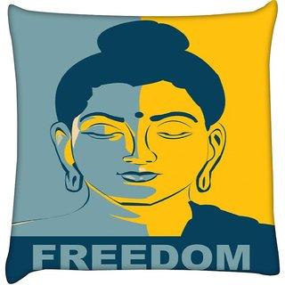 Snoogg  Buddha Freedom  Digitally Printed Cushion Cover Pillow 12 x 12 Inch