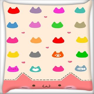 Snoogg cute kitty icons Digitally Printed Cushion Cover Pillow 12 x 12 Inch