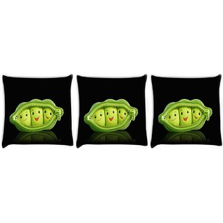 Snoogg Pack Of 3 Grren Peas Digitally Printed Cushion Cover Pillow 12 x 12 Inch