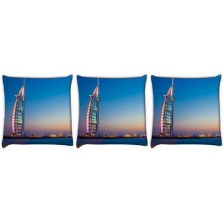 Snoogg Pack Of 3 Abstract Building Digitally Printed Cushion Cover Pillow 12 x 12 Inch