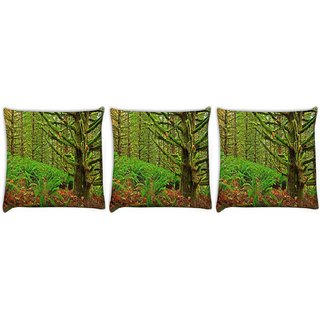 Snoogg Pack Of 3 Green Branched Tree Digitally Printed Cushion Cover Pillow 12 x 12 Inch