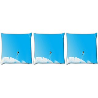 Snoogg Pack Of 3 Helicopter Digitally Printed Cushion Cover Pillow 12 x 12 Inch