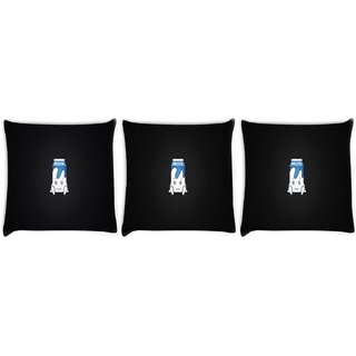 Snoogg Pack Of 3 Milk Digitally Printed Cushion Cover Pillow 12 x 12 Inch