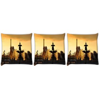 Snoogg Pack Of 3 Waterfall Pond Digitally Printed Cushion Cover Pillow 12 x 12 Inch