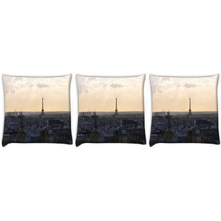 Snoogg Pack Of 3 Paris City Digitally Printed Cushion Cover Pillow 12 x 12 Inch