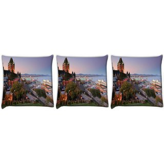 Snoogg Pack Of 3 Colorful Buildings Digitally Printed Cushion Cover Pillow 12 x 12 Inch