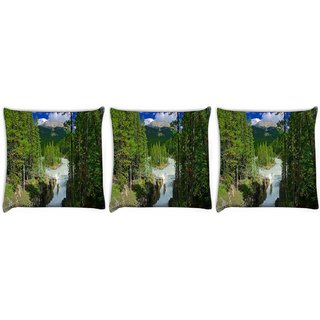 Snoogg Pack Of 3 Water Flowing Digitally Printed Cushion Cover Pillow 12 x 12 Inch