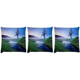Snoogg Pack Of 3 Frozen Tree Digitally Printed Cushion Cover Pillow 12 x 12 Inch