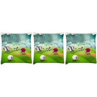 Snoogg Pack Of 3 Crazy Sheep Digitally Printed Cushion Cover Pillow 12 x 12 Inch