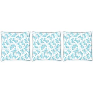 Snoogg Pack Of 3 Blue Butterfly White Pattern Digitally Printed Cushion Cover Pillow 12 x 12 Inch