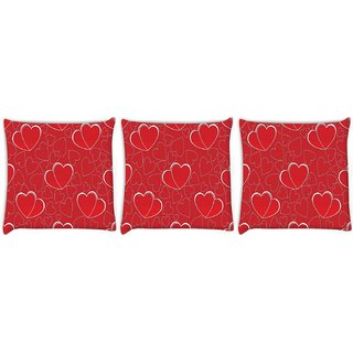 Snoogg Pack Of 3 White Heart Red Pattern Digitally Printed Cushion Cover Pillow 12 x 12 Inch