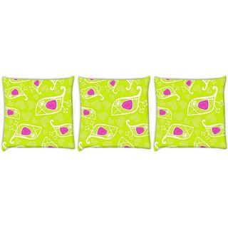 Snoogg Pack Of 3 White Bird Green Pattern Digitally Printed Cushion Cover Pillow 12 x 12 Inch