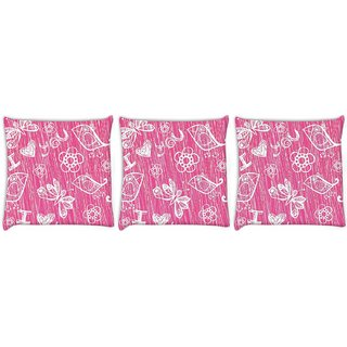 Snoogg Pack Of 3 I Love You Pink Pattern Digitally Printed Cushion Cover Pillow 12 x 12 Inch