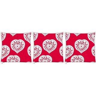 Snoogg Pack Of 3 White Heart Pink Pattern Digitally Printed Cushion Cover Pillow 12 x 12 Inch
