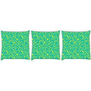 Snoogg Pack Of 3 Yellow I Love You Digitally Printed Cushion Cover Pillow 12 x 12 Inch
