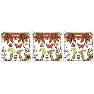 Snoogg Pack Of 3 Garden White Pattern Digitally Printed Cushion Cover Pillow 12 x 12 Inch