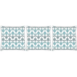 Snoogg Pack Of 3 Opposite Pattern Blue Digitally Printed Cushion Cover Pillow 12 x 12 Inch