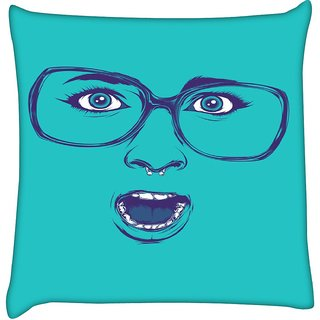 Snoogg  Shocker Face  Digitally Printed Cushion Cover Pillow 12 x 12 Inch