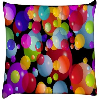 Snoogg colorful bubbles 2606  Digitally Printed Cushion Cover Pillow 12 x 12 Inch