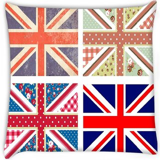 Snoogg  4 cute british flags in shabby chic floral and vintage style Digitally Printed Cushion Cover Pillow 12 x 12 Inch