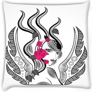 Snoogg  abstract fairy with red flowers  Digitally Printed Cushion Cover Pillow 12 x 12 Inch
