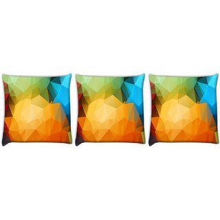 Snoogg Pack Of 3 Multicolor Pattern Design Digitally Printed Cushion Cover Pillow 12 x 12 Inch