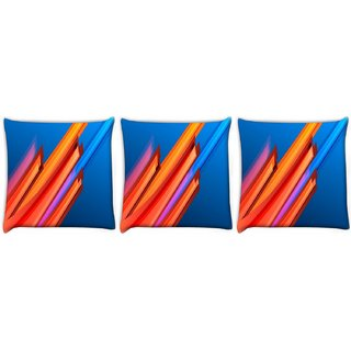 Snoogg Pack Of 3 Orange And Blue Design Digitally Printed Cushion Cover Pillow 12 x 12 Inch