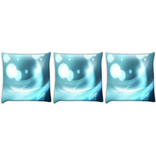 Snoogg Pack Of 3 Light Bubbles Pattern Design Digitally Printed Cushion Cover Pillow 12 x 12 Inch