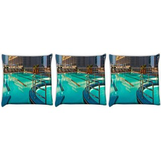 Snoogg Pack Of 3 Building With Purple Light At Top Digitally Printed Cushion Cover Pillow 12 x 12 Inch