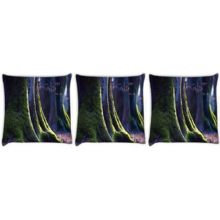 Snoogg Pack Of 3 Abstract Green Tree Digitally Printed Cushion Cover Pillow 12 x 12 Inch