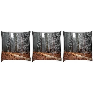 Snoogg Pack Of 3 White Small Tree Digitally Printed Cushion Cover Pillow 12 x 12 Inch