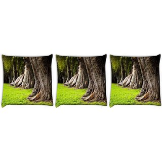 Snoogg Pack Of 3 Huge Tress Digitally Printed Cushion Cover Pillow 12 x 12 Inch