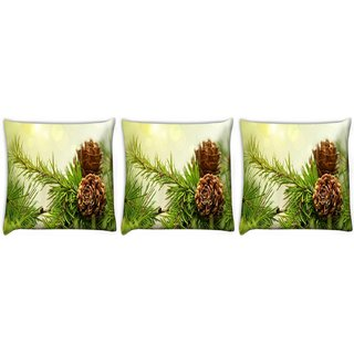 Snoogg Pack Of 3 Wooden Flower Digitally Printed Cushion Cover Pillow 12 x 12 Inch