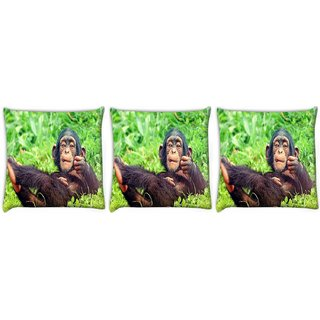 Snoogg Pack Of 3 Chimpanese Digitally Printed Cushion Cover Pillow 12 x 12 Inch