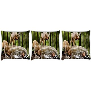Snoogg Pack Of 3 Monkey And Water Digitally Printed Cushion Cover Pillow 12 x 12 Inch