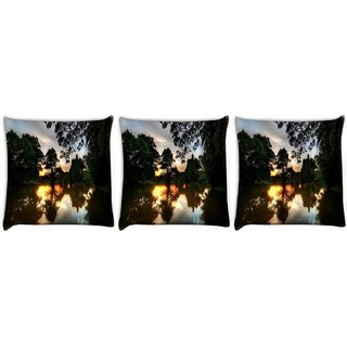 Snoogg Pack Of 3 Evening At Lake Side Digitally Printed Cushion Cover Pillow 12 x 12 Inch