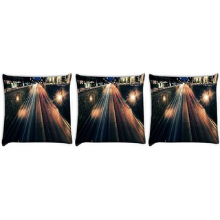 Snoogg Pack Of 3 City At Night Digitally Printed Cushion Cover Pillow 12 x 12 Inch
