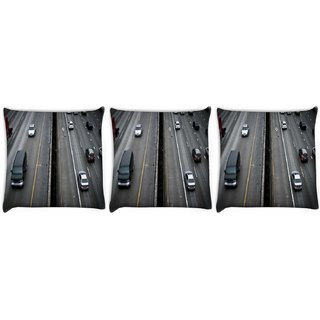 Snoogg Pack Of 3 Cars Running Digitally Printed Cushion Cover Pillow 12 x 12 Inch