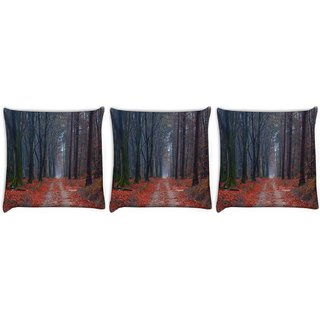 Snoogg Pack Of 3 Frozen Trees Digitally Printed Cushion Cover Pillow 12 x 12 Inch