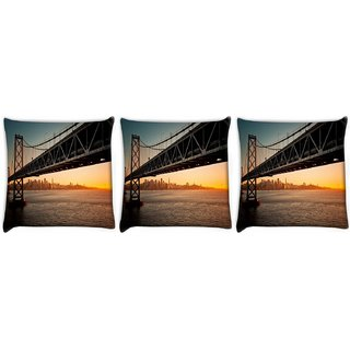 Snoogg Pack Of 3 Subway Digitally Printed Cushion Cover Pillow 12 x 12 Inch