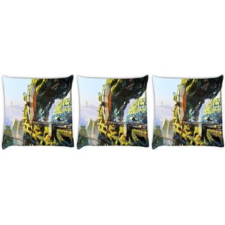 Snoogg Pack Of 3 Blue Spider Web Digitally Printed Cushion Cover Pillow 12 x 12 Inch