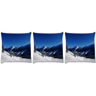 Snoogg Pack Of 3 Sun And Snow Digitally Printed Cushion Cover Pillow 12 x 12 Inch