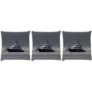 Snoogg Pack Of 3 White Boat In Blue Water Digitally Printed Cushion Cover Pillow 12 x 12 Inch