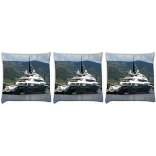 Snoogg Pack Of 3 Big Samreen Digitally Printed Cushion Cover Pillow 12 x 12 Inch
