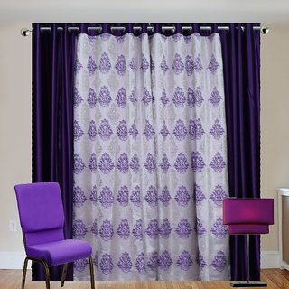 Magnet Fancy Polyester 2 Piece Door Curtain Set - Purple