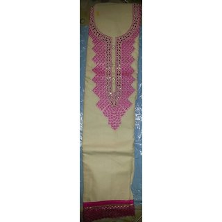 Cream  Pink Cotton Suit (Unstitched)